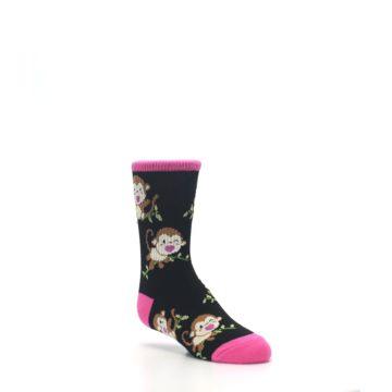Image of Black Pink Monkey Kid's Dress Socks (side-1-27)