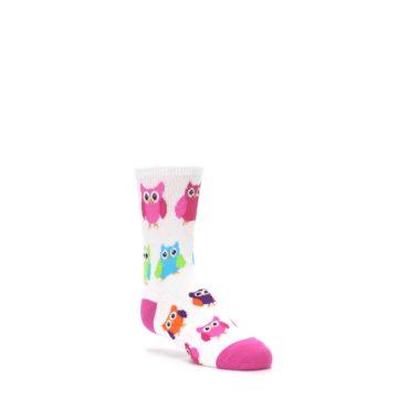 3-6Y-White-Multi-Owls-Kids-Dress-Socks-K-Bell