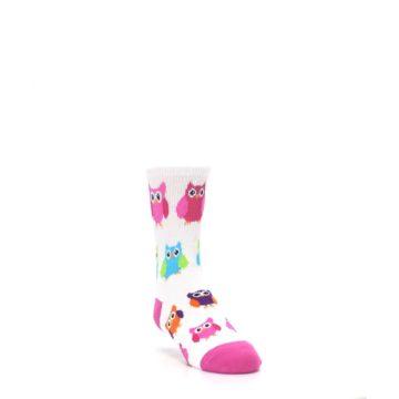 Image of White Multi Owls Kid's Dress Socks (side-1-front-02)