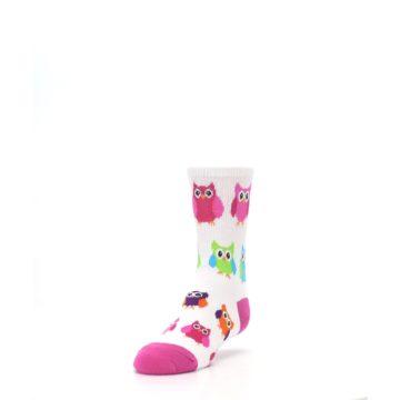 Image of White Multi Owls Kid's Dress Socks (side-2-front-07)