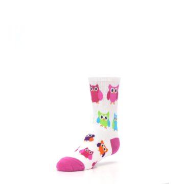 Image of White Multi Owls Kid's Dress Socks (side-2-front-08)