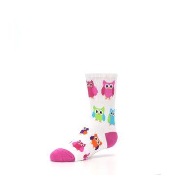 Image of White Multi Owls Kid's Dress Socks (side-2-09)
