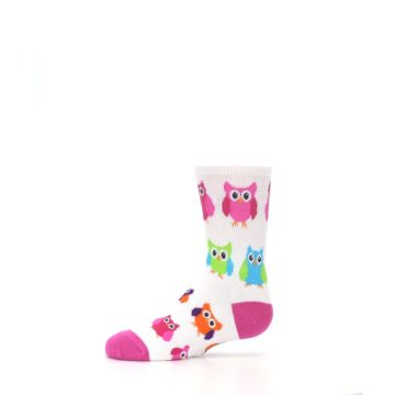 Image of White Multi Owls Kid's Dress Socks (side-2-11)