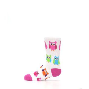Image of White Multi Owls Kid's Dress Socks (side-2-12)