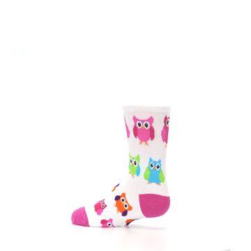 Image of White Multi Owls Kid's Dress Socks (side-2-13)