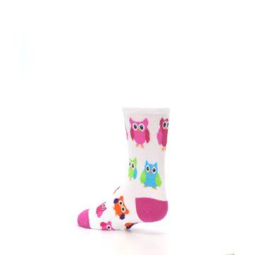 Image of White Multi Owls Kid's Dress Socks (side-2-back-14)