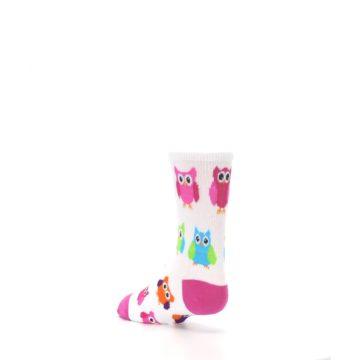 Image of White Multi Owls Kid's Dress Socks (side-2-back-15)