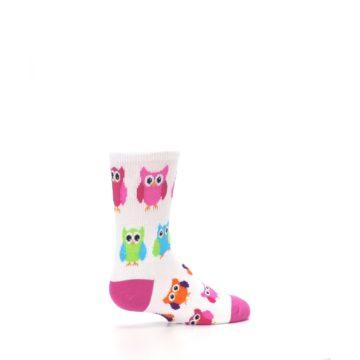 Image of White Multi Owls Kid's Dress Socks (side-1-23)