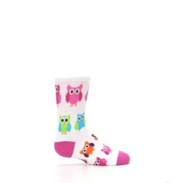 Image of White Multi Owls Kid's Dress Socks (side-1-24)