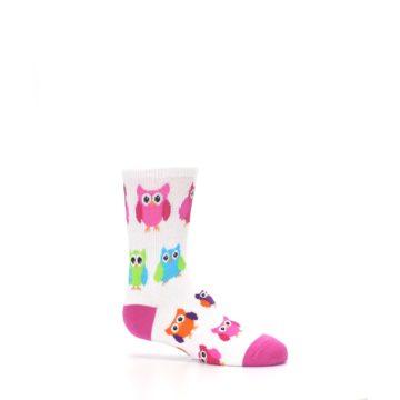 Image of White Multi Owls Kid's Dress Socks (side-1-25)