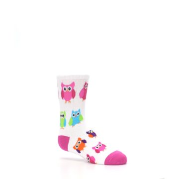 Image of White Multi Owls Kid's Dress Socks (side-1-26)