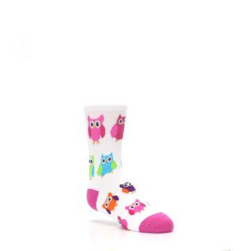 Image of White Multi Owls Kid's Dress Socks (side-1-27)