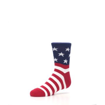 Image of Red White Blue American Flag Kid's Dress Socks (side-2-09)