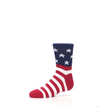 Image of Red White Blue American Flag Kid's Dress Socks (side-2-10)
