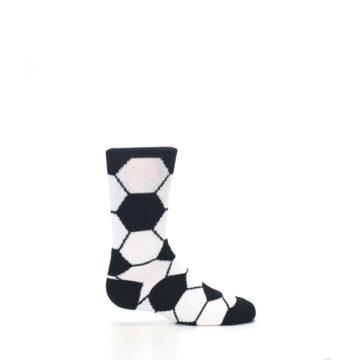 Image of Black White Soccer Ball Kid's Dress Socks (side-1-24)
