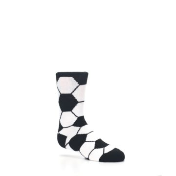 Image of Black White Soccer Ball Kid's Dress Socks (side-1-26)