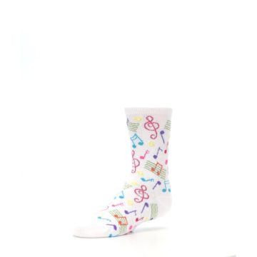 Image of White Multi Music Notes Kid's Dress Socks (side-2-09)