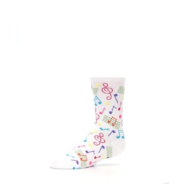 Image of White Multi Music Notes Kid's Dress Socks (side-2-10)