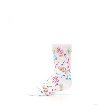 Image of White Multi Music Notes Kid's Dress Socks (side-2-11)