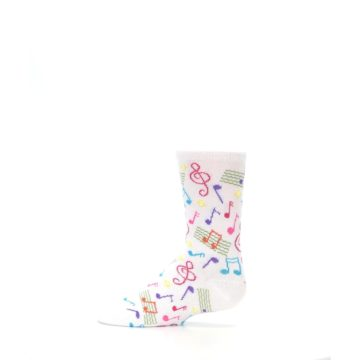 Image of White Multi Music Notes Kid's Dress Socks (side-2-12)