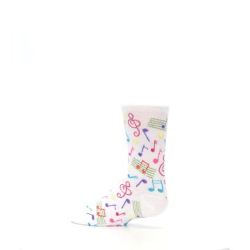 Image of White Multi Music Notes Kid's Dress Socks (side-2-13)