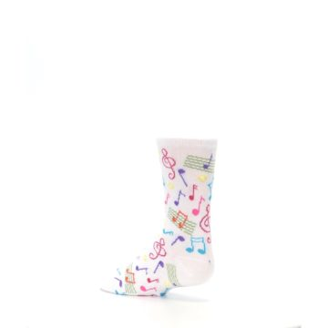 Image of White Multi Music Notes Kid's Dress Socks (side-2-back-14)