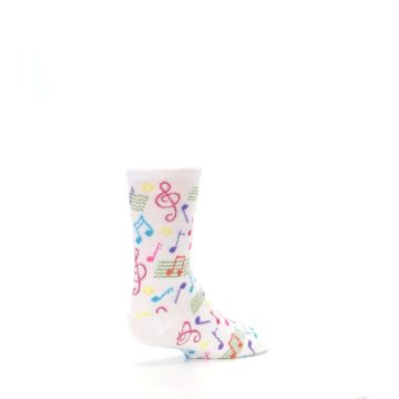 Image of White Multi Music Notes Kid's Dress Socks (side-1-back-22)