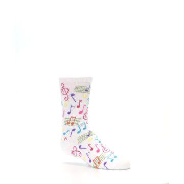 Image of White Multi Music Notes Kid's Dress Socks (side-1-26)