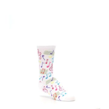Image of White Multi Music Notes Kid's Dress Socks (side-1-27)