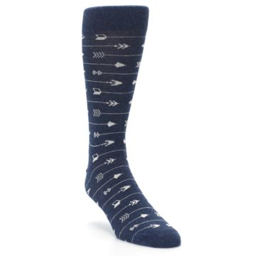 Image of Navy Gray Arrows Men's Dress Socks (side-1-front-02)