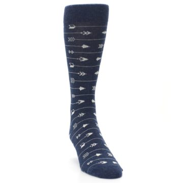 Image of Navy Gray Arrows Men's Dress Socks (side-1-front-03)