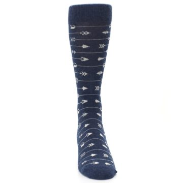 Image of Navy Gray Arrows Men's Dress Socks (front-04)