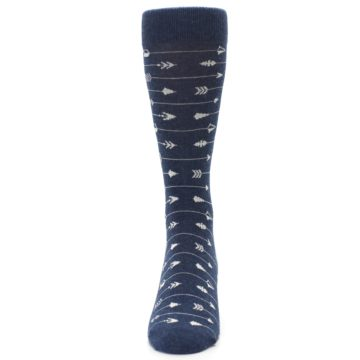 Image of Navy Gray Arrows Men's Dress Socks (front-05)