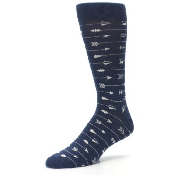 Image of Navy Gray Arrows Men's Dress Socks (side-2-09)