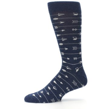 Image of Navy Gray Arrows Men's Dress Socks (side-2-11)