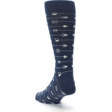 Image of Navy Gray Arrows Men's Dress Socks (side-2-back-16)
