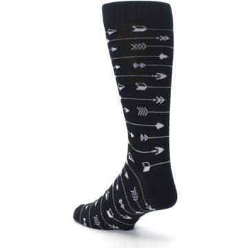 Image of Black White Arrows Men's Dress Socks (side-2-back-15)