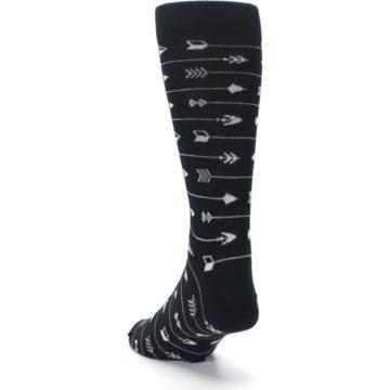 Image of Black White Arrows Men's Dress Socks (side-2-back-16)