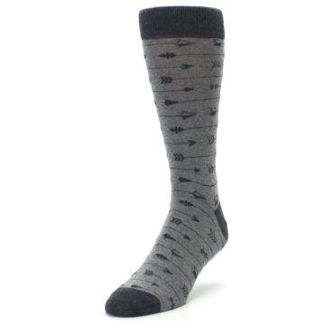 Image of Gray Arrows Men's Dress Socks (side-2-front-07)