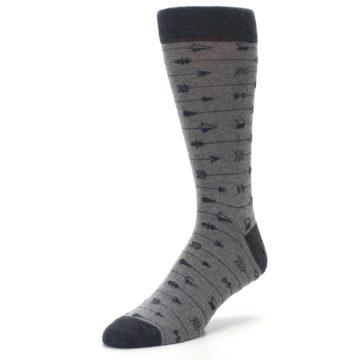 Image of Gray Arrows Men's Dress Socks (side-2-front-08)