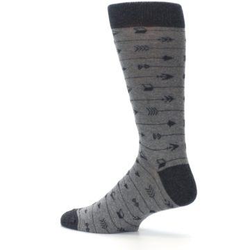 Image of Gray Arrows Men's Dress Socks (side-2-13)