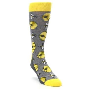 Image of Gray Yellow Honey Bees Men's Dress Socks (side-1-front-02)
