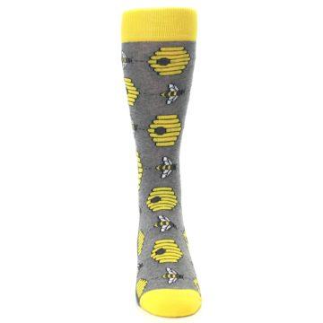 Image of Gray Yellow Honey Bees Men's Dress Socks (front-04)