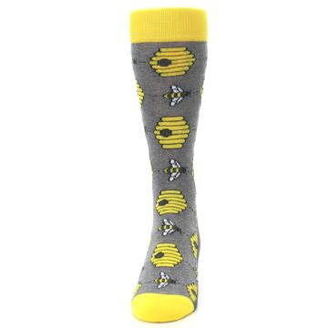 Image of Gray Yellow Honey Bees Men's Dress Socks (front-05)