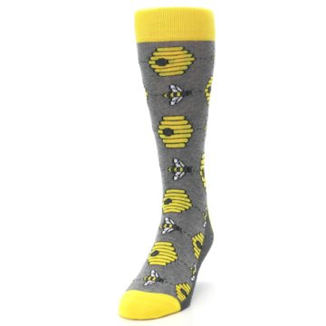 Image of Gray Yellow Honey Bees Men's Dress Socks (side-2-front-06)
