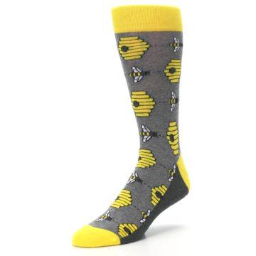 Image of Gray Yellow Honey Bees Men's Dress Socks (side-2-front-08)
