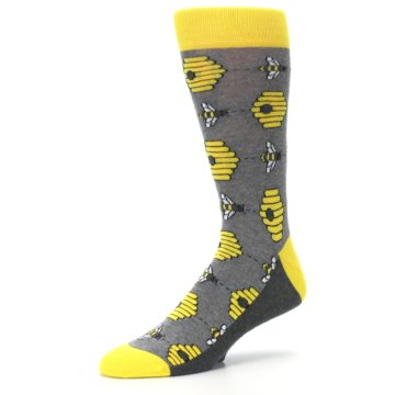 Image of Gray Yellow Honey Bees Men's Dress Socks (side-2-09)