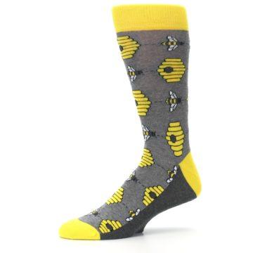 Image of Gray Yellow Honey Bees Men's Dress Socks (side-2-10)