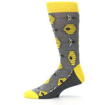Image of Gray Yellow Honey Bees Men's Dress Socks (side-2-11)