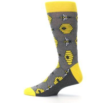 Image of Gray Yellow Honey Bees Men's Dress Socks (side-2-12)